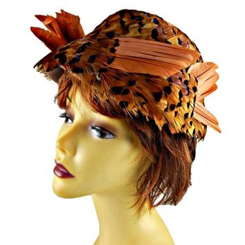 Pheasant Feather Hat Bucket Style by Hilda and Hester in Browns and Pale Orange