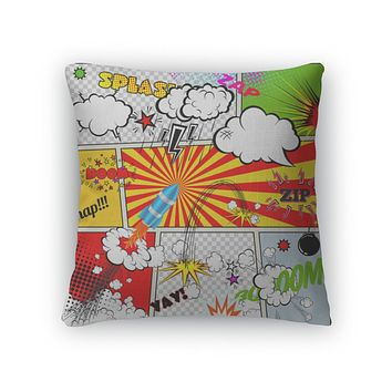 Throw Pillow, Set Of Retro Comic Book Design Elements Speech And Thought Bubbles