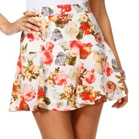 Sale-floral Drop Waist Skirt