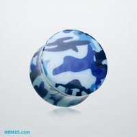 Blue Camouflage Double Flared Ear Gauge Plug