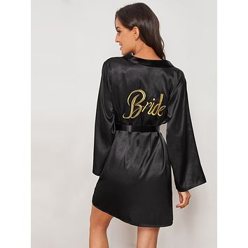 Letter Embroidered Satin Belted Robe