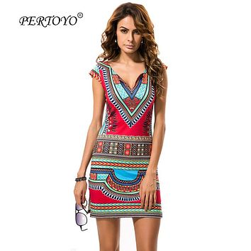 PERTOYO Women Dashiki Dress 2017 Ladies Short V-Neck Sexy African Dresses Traditional Print Mini Women Summer Boho Beach Dress