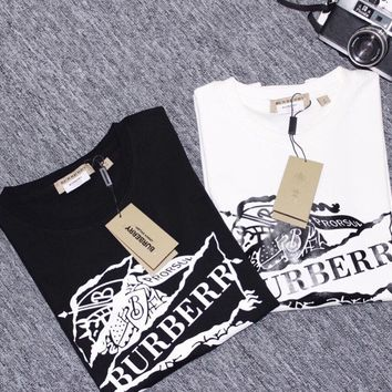 Burberry 2019 early spring new classic knight print pattern men and women round neck T-shirt