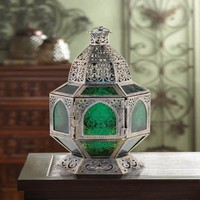 Basilica Silver Finish Green Tabletop Candle Lantern