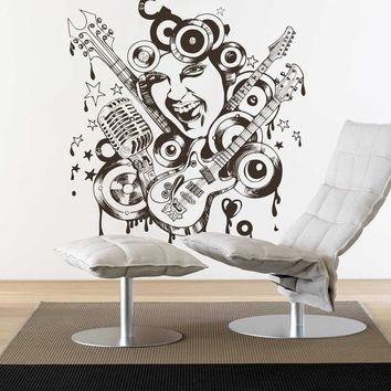 Music Wall Decal Vinyl Sticker Art Decor loud rock band singer relaxation graffiti young girl face singing garage Bedroom Modern Gift (i114)
