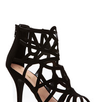 Black Laser Cut Single Sole Heels