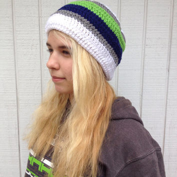 Crochet Seahawks Themed Beanie / Fashion Beanie / Hand-Crocheted / Womens Beanie / Men's Beanie