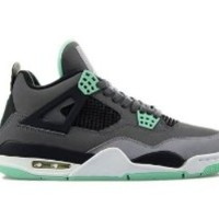 Nike Mens Air Jordan Retro 4 Basketball Shoes Dark Grey/Cement Grey/Green Glow 308497-033 Size 8
