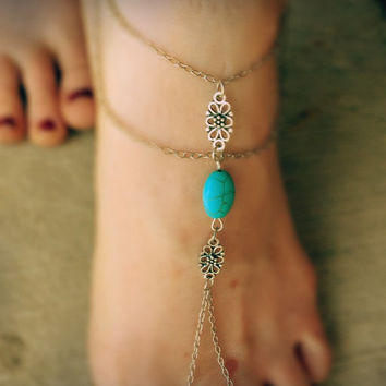 Boho barefoot sandals,gypsy bracelet,ankle bracelet,turquoise anklet,tribal jewelry,howlite bracelet,festival jewelry,mystic bracelet,