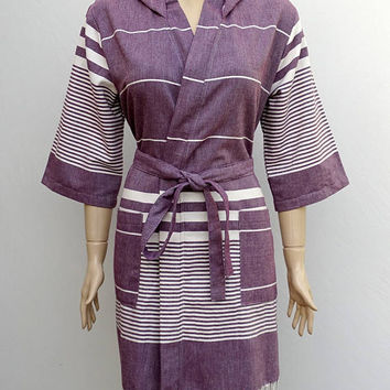 Women's grape burgundy colour soft cotton hooded kimono bathrobe with pockets, hooded bridesmaid robe, dressing gown, hooded beach robe.