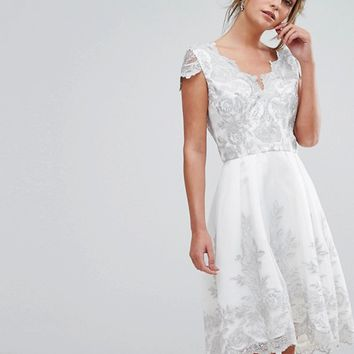 Chi Chi London Premium Lace Cap Sleeve Midi Dress with Scalloped Back at asos.com