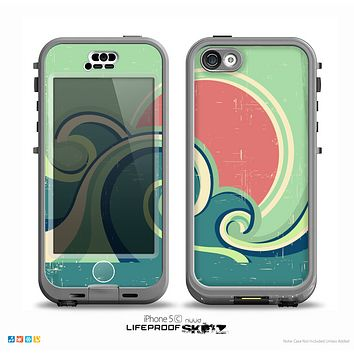 The Vector Retro Green Waves Skin for the iPhone 5c nüüd LifeProof Case