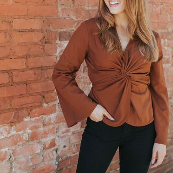 Ellie Knotted Top, Camel