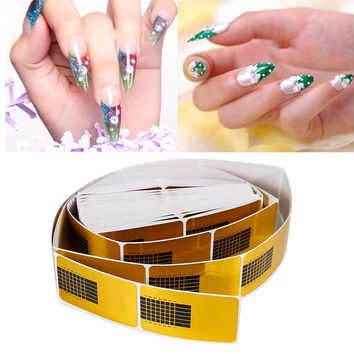 100/50Pcs/lot Horseshoe Shape Professional Nail Art Tips Extension Forms Guide Stickers UV Gel Manicure Accessories