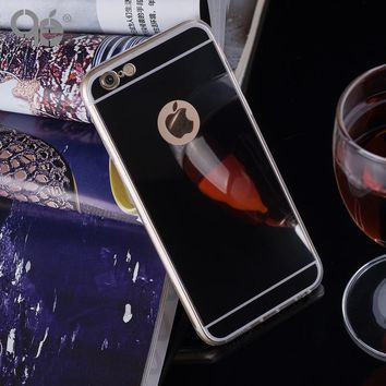 Fashion Luxury Mirror Soft Case TPU Frame Cover For Iphone X 8 5 5S SE 6 6S 7 8 Plus Ultra Slim Clear Phone Case Coque Fundas