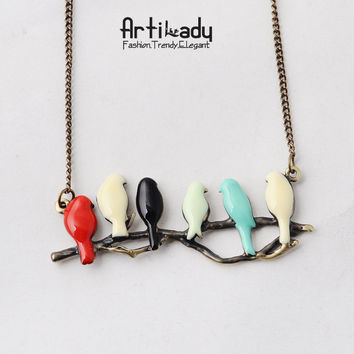 Women's Lovely Bird on Branch Trendy Necklace Fashionable Crystal Pendant Necklace