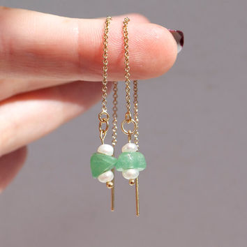 Threader earrings seed pearl green jade 14k gold fill Tiny delicate seed pearl Modern minimal Beach boho resort Contemporary Bridal jewelry