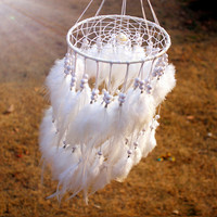 8 color New fashion originality hanging Feather pearl Dreamcatcher Wind Chimes Indian Style Pendant Dream Catcher Gift