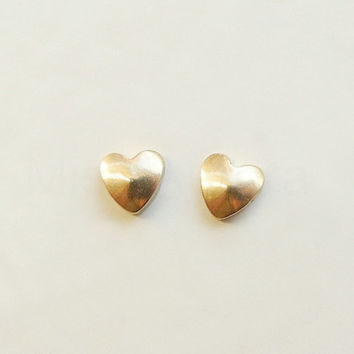 Tiny Heart Stud Earrings,Brass Gold Heart Earrings,Heart Jewelry,Tiny Sterling Silver Earrings,Love Jewelry,Hypoallergenic Earrings (E083)