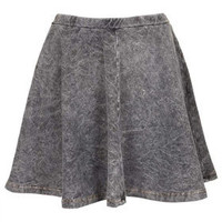 Grey Denim Look Skater Skirt - Skirts  - Clothing
