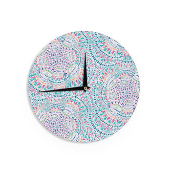 "Miranda Mol ""Kaleidoscopic White"" Aqua Abstract Wall Clock"