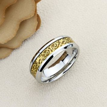 Promise Ring Stainless Steel Wedding Band Ring Men Women Unisex 8MM Yellow Tone Inlay Celtic Dragon Ring Inside Custom Engraving - ZSTR127
