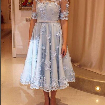 New Elegant Cocktail Dress With Short Sleeves 2017 Handmade Flowers Party Gowns Short Dresses Fast Shipping