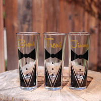 3 Custom Groomsmen Shot Glasses Tux with Name Wedding Gifts Groomsmen Gifts Bachelor Parties Wedding Party Groom Personalized Shot Glass