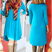 Never Let Go Teal V-Neck Quarter Sleeve Tunic Dress