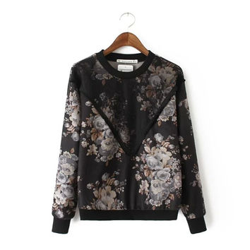 Black Floral Print Lace Mesh Sweater