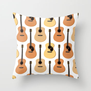 Acoustic Guitars Pattern Throw Pillow by Cute To Boot