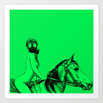 Pop Draw No. 4, sexy nude gas mask girl on horse green pin-up Art Print by OCcreates