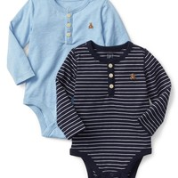 Stripe long sleeve henley bodysuit (2-pack)|gap