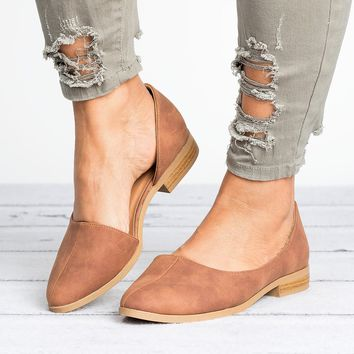 D'Orsay Distressed Leather Flats - Cognac