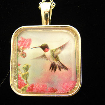 "Handmade Hummingbird Glass Pendant with 18""Silver Chain, Square 1x1"" Necklace"