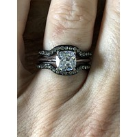 A Perfect 1.9CT Cushion Cut Russian Lab Diamond Black Bridal Set
