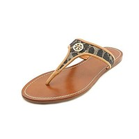 Tory Burch Cameron Thong with Binding Leopard Raffia Sandals