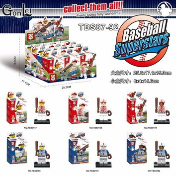 GonLeI 6pcs/lot marvel avengers super heroes Baseball with mobilization Collection Building Blocks action Baby toys  Legoingly