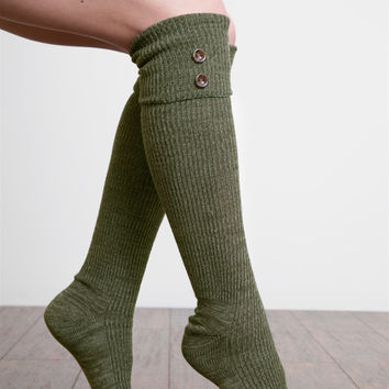 Tall Heathered Button Boot Sock by Simply Noelle