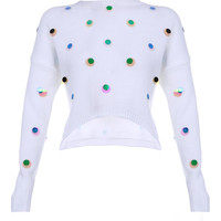 Polka Dots Sequin Knitted Cropped Sweater