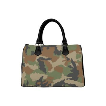 Personalized Women Bag Woodland Forest Camouflage Boston Top Handbag