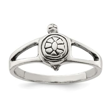925 Sterling Silver Solid Turtle Ring