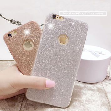 Phone Case For Iphone 6 6S 6 Plus 6S Plus 5 5S SE Luxury Bling Glitter Powder Ultra Thin HIgh Quality Soft TPU Phone Back Cover