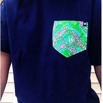 GTees Lilly Pulitzer Collection Short Sleeve Pocket Tee