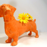 Handmade Ceramic Dachshund Bud Vase in Tangerine Glaze. Altered vintage mold with modern color. Perfect gift for dog lovers and pet owners.