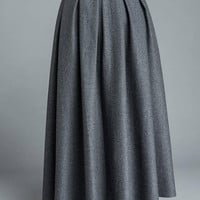 Gray skirt, winter skirt, long skirt, pleated skirt, womens skirts, wool skirt, flare skirt, swing skirt, skirt with pockets C1205