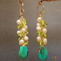 "Clusters of ivory pearls, peridot, and turquoise, 2"" Earring Gold Or Silver"
