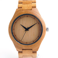 Bamboo watches wood band japanese miyota 2035 movement quartz watch wristwatches unisex with gift box for Christmas accept customization OEM