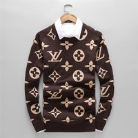 LV Louis Vuitton 2018 autumn and winter trend plus velvet men's lapel sweater coffee