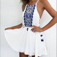 Sexy Sling Print Chiffon Dress